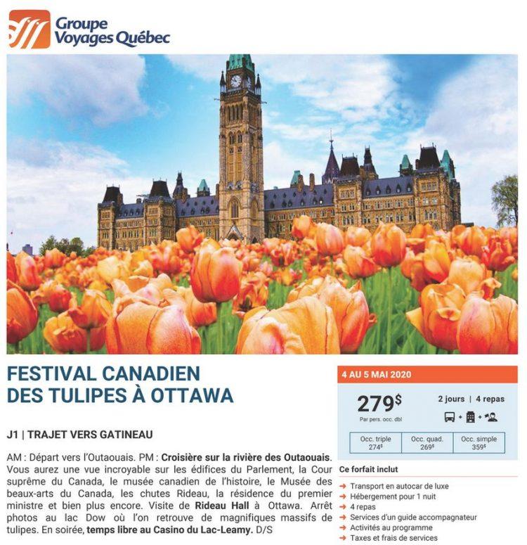 Flyer Ottawa FESTIVAL CANADIEN DES TULIPES 4 au 5 mai 2020 1